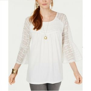 Style & Co L White Lace Overlay Top 9T33